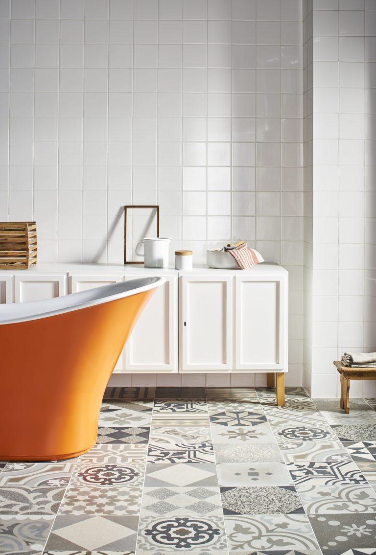 Albion White Gloss Decorative & Glazed Tiles   Mandarin Stone