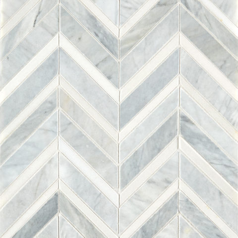 Alps Honed Polished Chevron Marble Mosaic