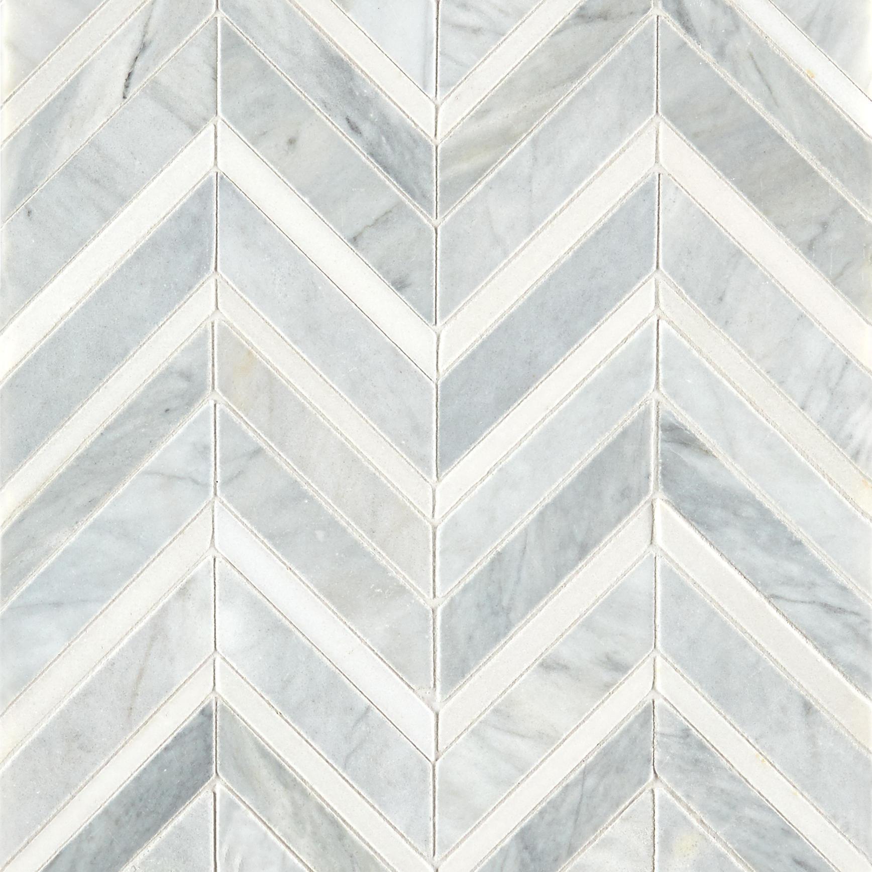 Alps Honed Polished Chevron Marble Mosaic Tile Mandarin