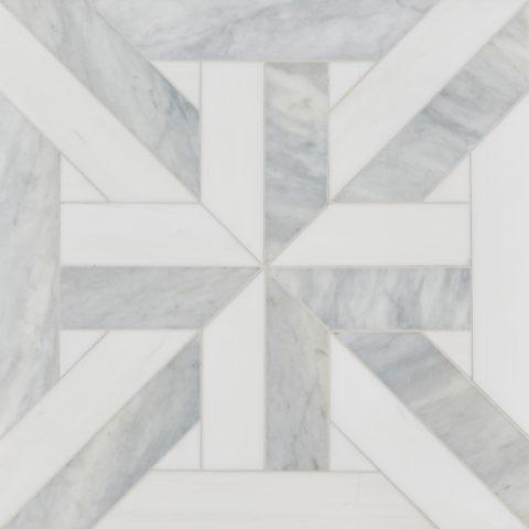 Alps Honed Polished Large Lattice Marble Mosaic