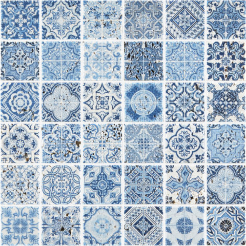 Artiste Blue Painted Travertine Mosaic