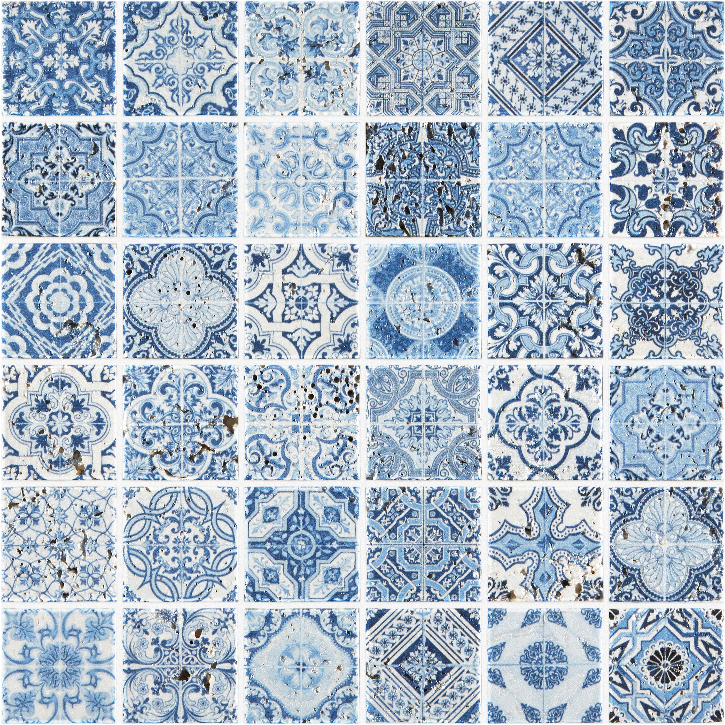 Assez Artiste Blue Painted Travertine Mosaic Tiles | Mandarin Stone QB12