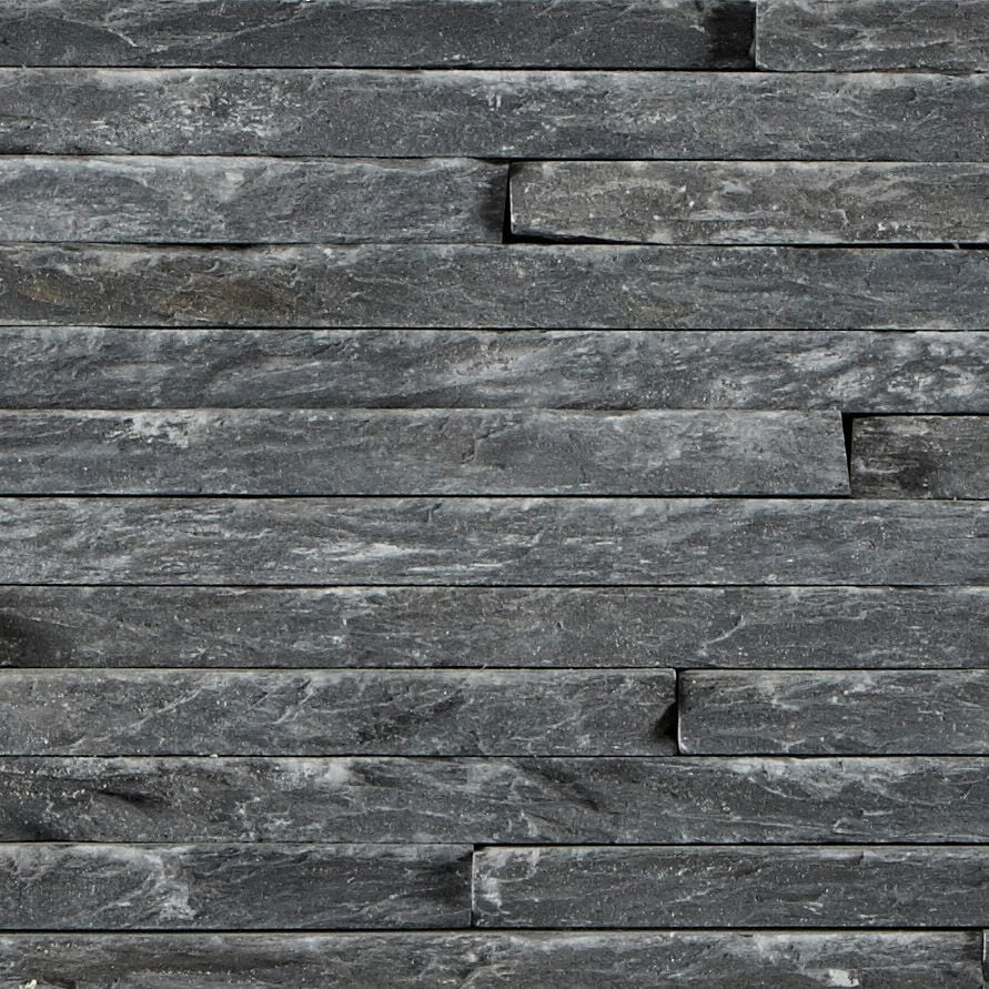 Black Slate Stone Wall : Black slate mini splitface tiles mandarin stone