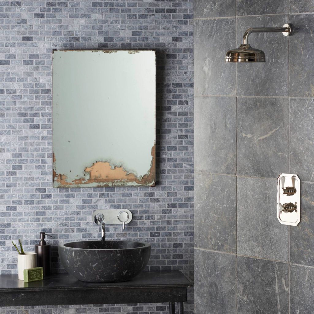 Bluestone Tumbled Marble Mosaic, Bluestone Honed Pluto Basin