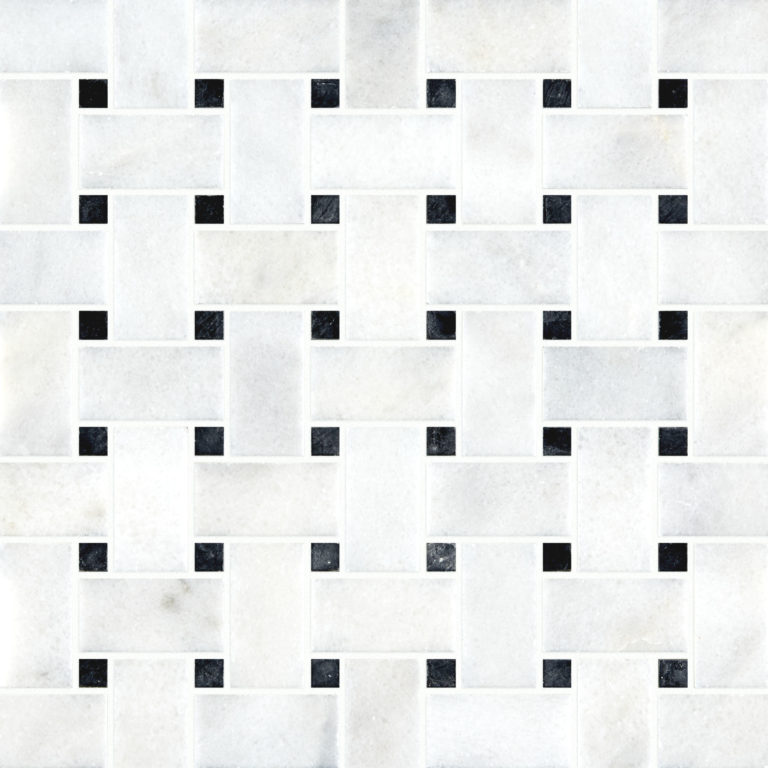 Calacatta Honed Basket Weave Mosaic Tile Swatch
