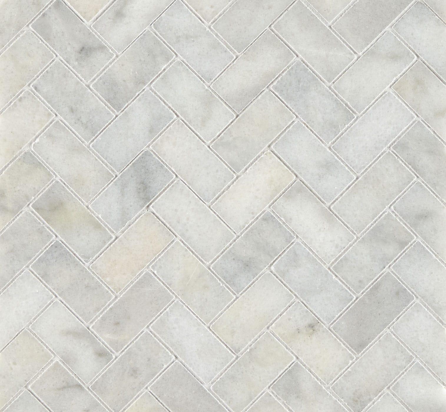 Calacatta Honed Marble Herringbone Mosaic Tiles Mandarin