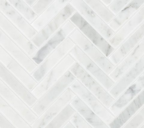 Carrara Honed Marble Herringbone Mosaic
