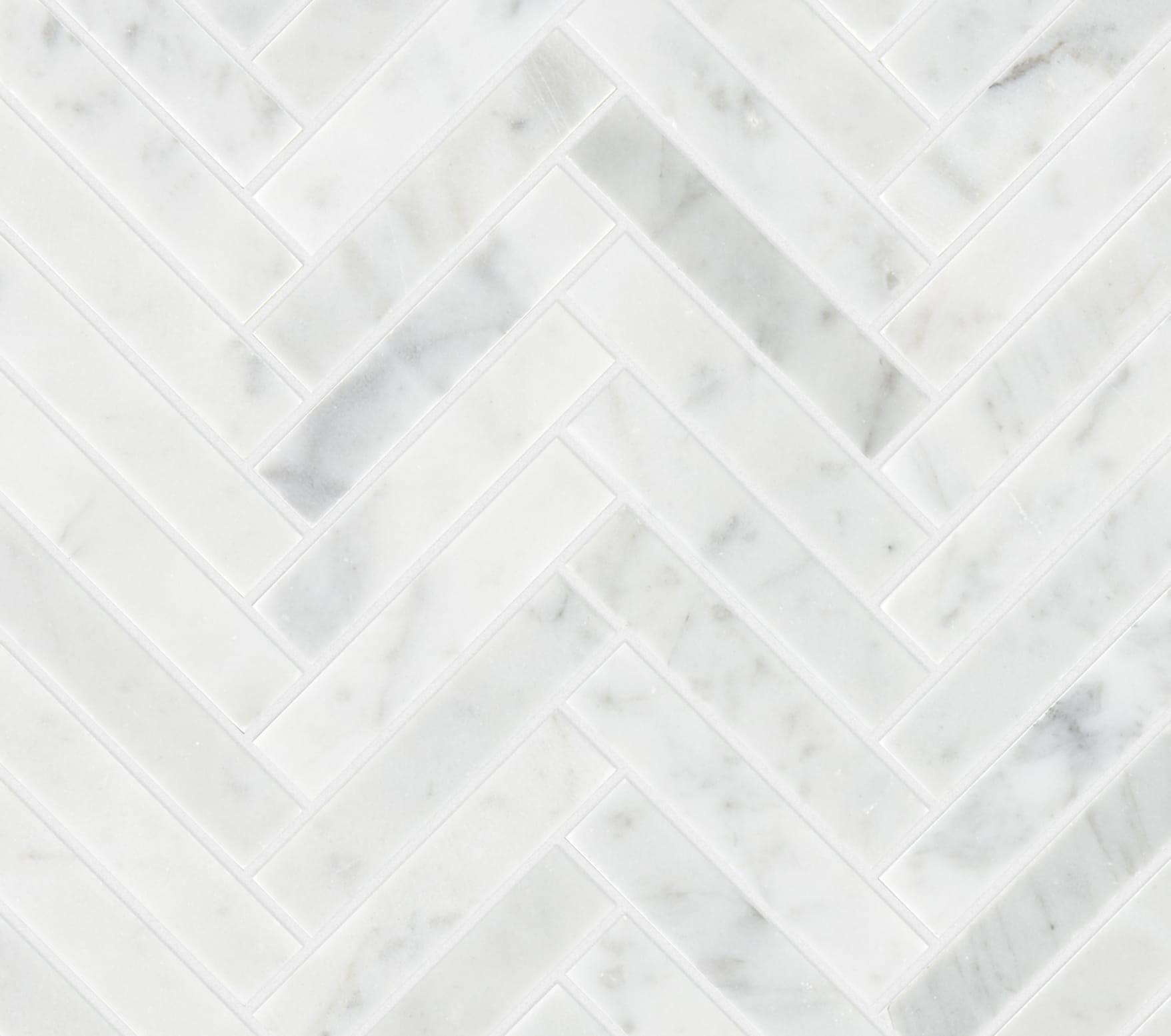 Carrara Honed Marble Herringbone Mosaic Tile Mandarin Stone