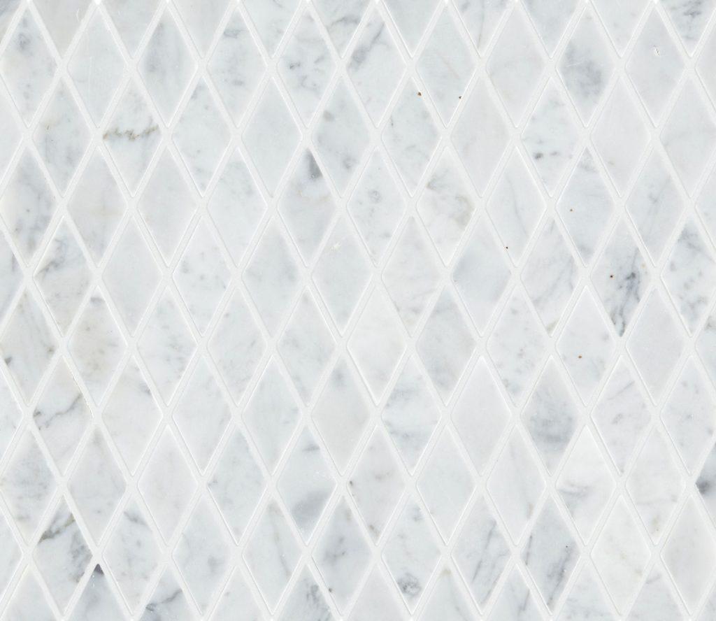 Carrara Honed Marble Diamond Mosaic Tile Mandarin Stone