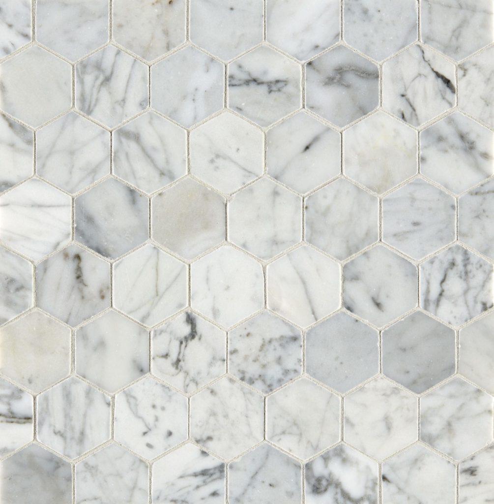 Carrara honed hexagon marble mosaic tile mandarin stone - Grey bathroom floor tiles texture ...