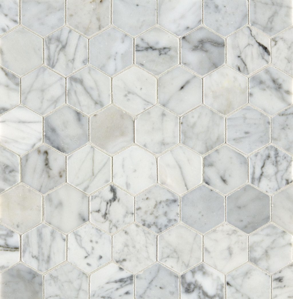 Carrara Honed Hexagon Marble Mosaic