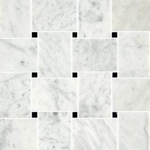 Carrara Honed Marble Basketweave Mosaic