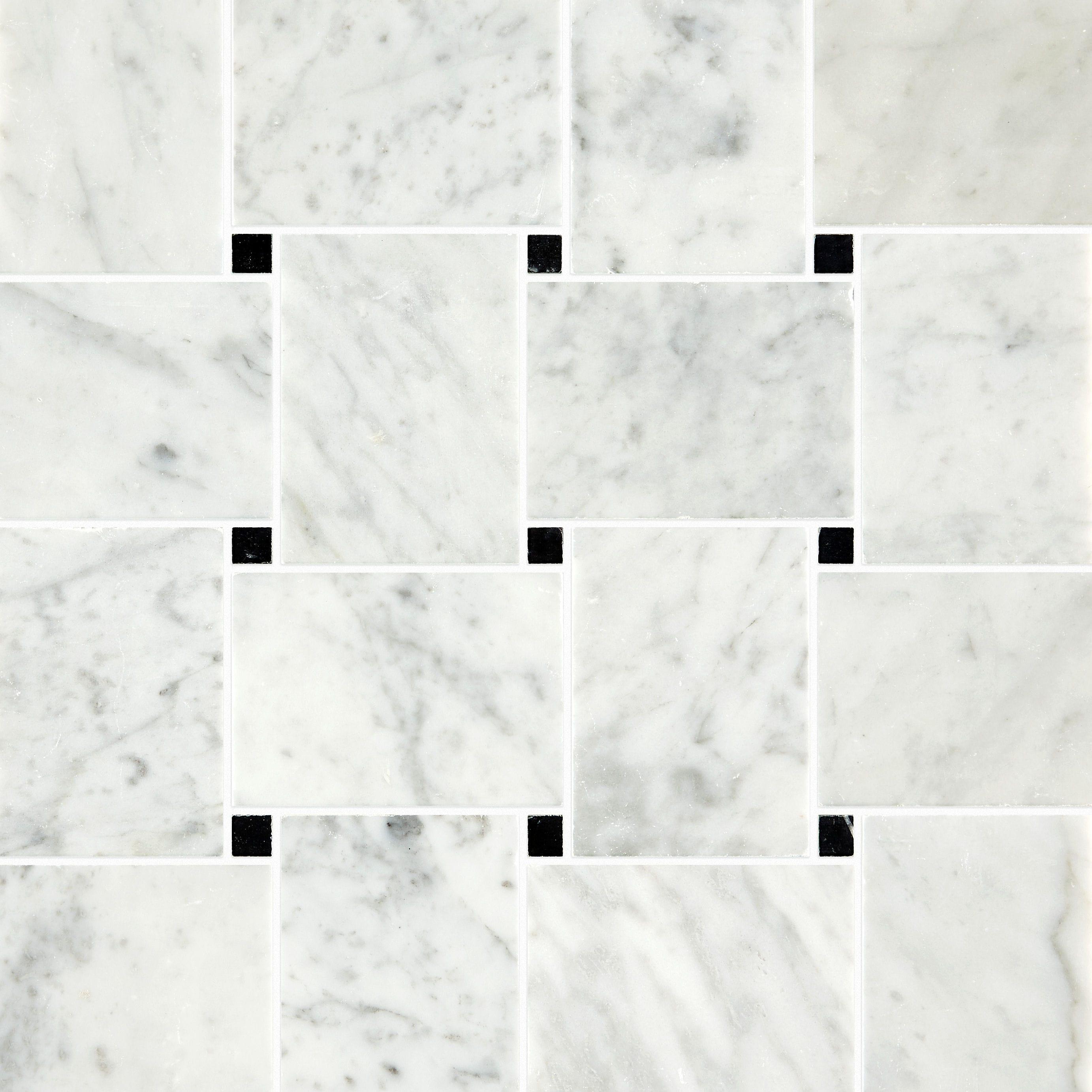 Carrara Honed Marble Basket Weave Mosaic Tiles Mandarin