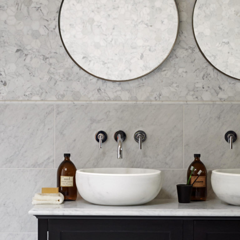 Carrara Honed Marble, Carrara Honed Hexagon Mosaic