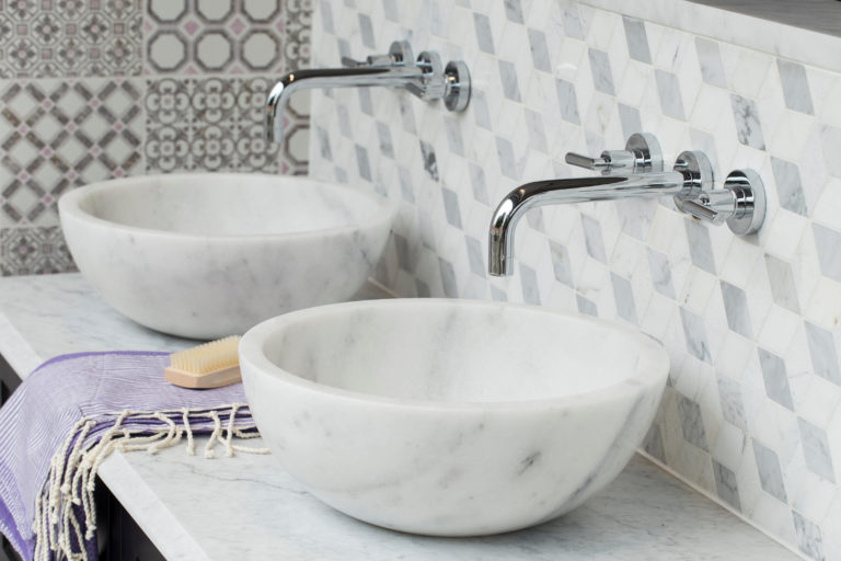 Carrara Honed Polished Grooved Calacatta Pluto Basin