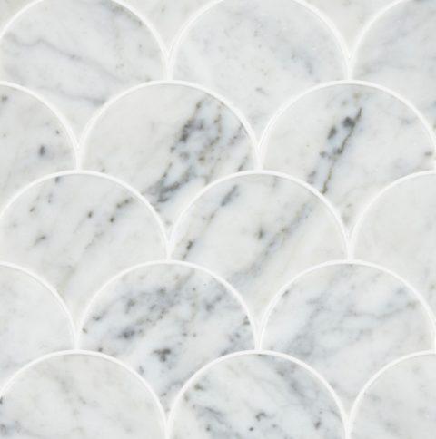 Carrara Honed Marble Scallop Mosaic