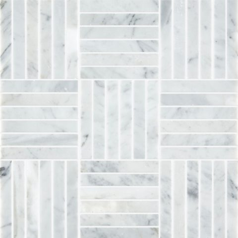 Carrara Honed Marble Tatami Mosaic