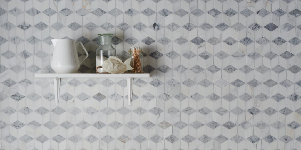 Carrara Honed Polished Grooved Cube Mosaic