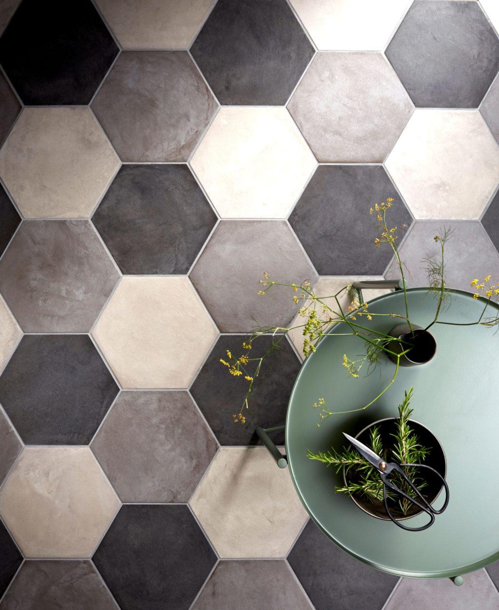 . Casablanca Black Base Hexagon Decorative Porcelain