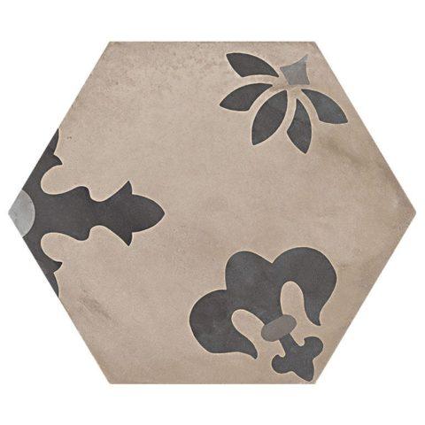 Casablanca Mono Decor 10/12 Hexagon Porcelain
