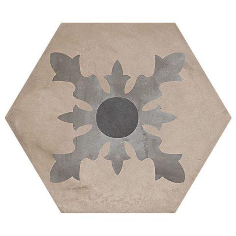 Casablanca Mono Decor 2/12 Hexagon Porcelain