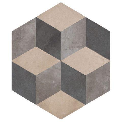 Casablanca Mono Decor 4/12 Hexagon Decorative Porcelain