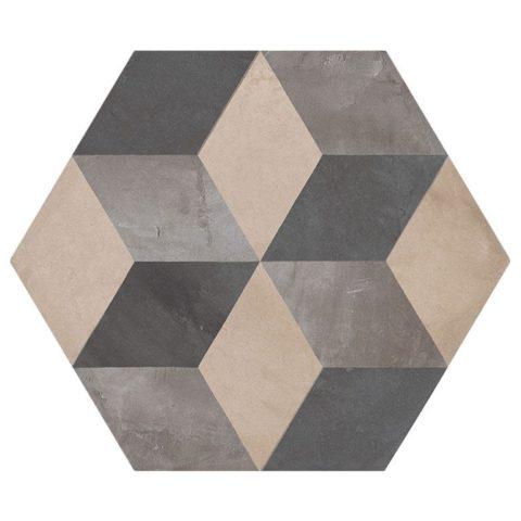 Casablanca Mono Decor 4/12 Hexagon Porcelain