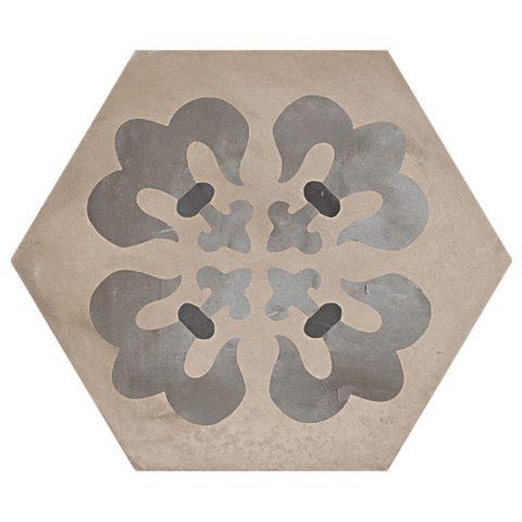 Casablanca Mono Decor 5/12 Hexagon Decorative Porcelain