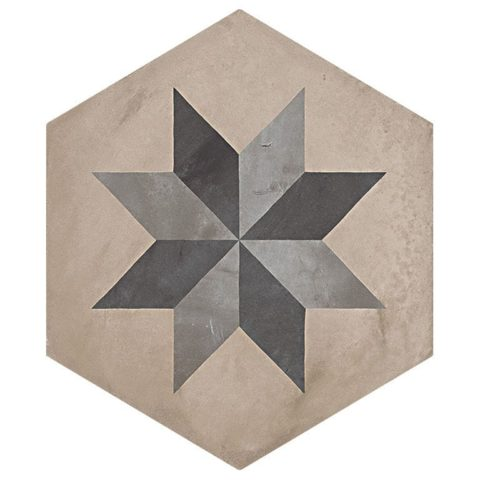 Casablanca Mono Hexagon Decor 6/12 Decorative Porcelain