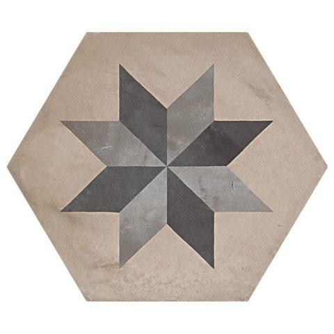 Casablanca Mono Decor 6/12 Hexagon Decorative Porcelain
