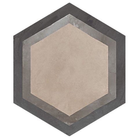 Casablanca Mono Decor 7/12 Hexagon Decorative Porcelain