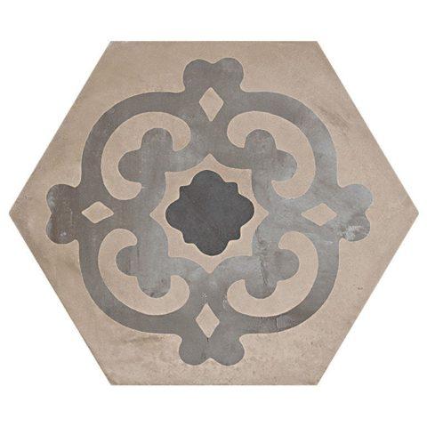 Casablanca Mono Decor 8/12 Hexagon Porcelain