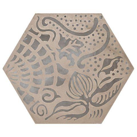 Casablanca Mono Decor 9/12 Hexagon Porcelain