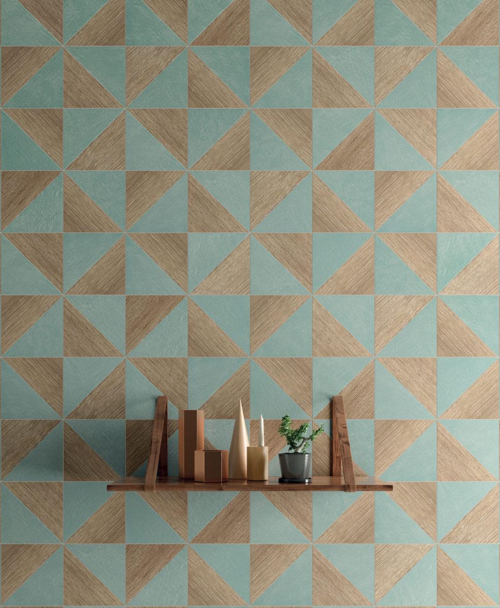 Colour Block Oak Blue Blend Porcelain Tile Mandarin Stone