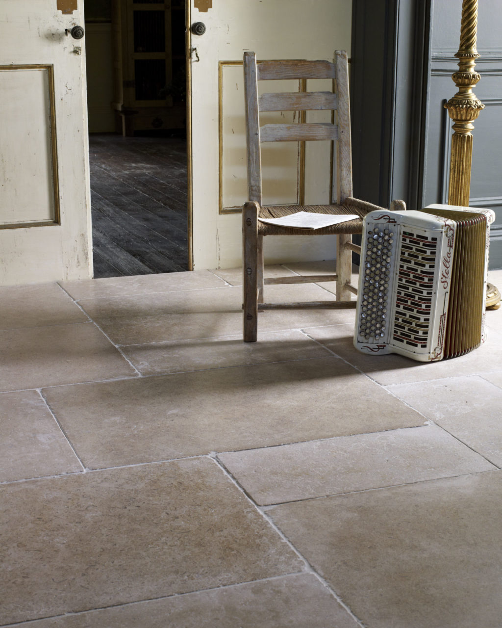 Dijon Tumbled Limestone Tile In Situ