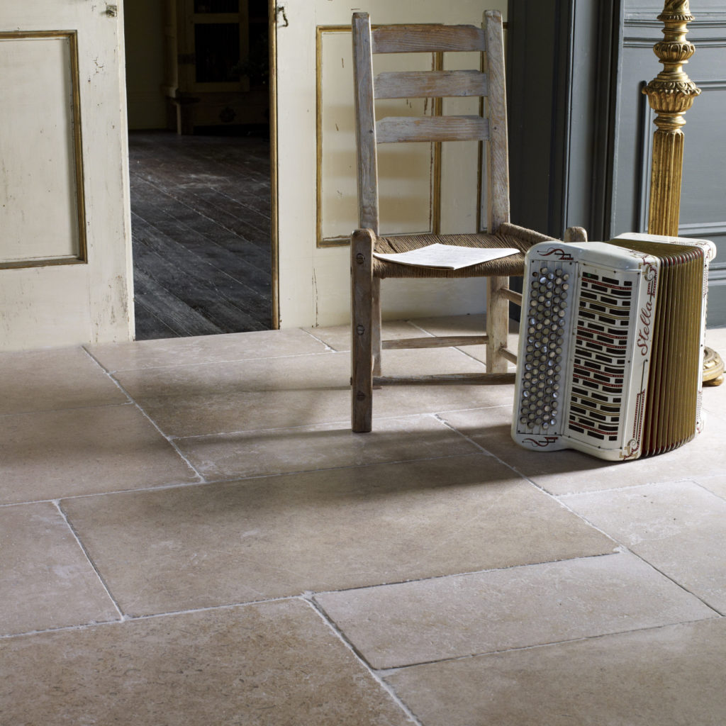 Dijon Tumbled Limestone Tile Swatch In Situ