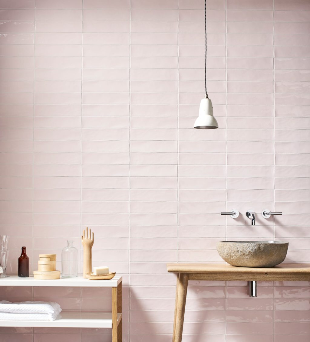 Gelato Rose Gloss Ceramic Tiles Mandarin Stone