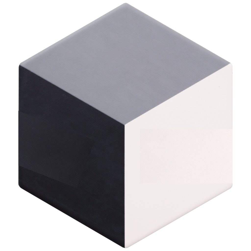 Geometric Cube Decor Ebony Dove White Porcelain Hexagon