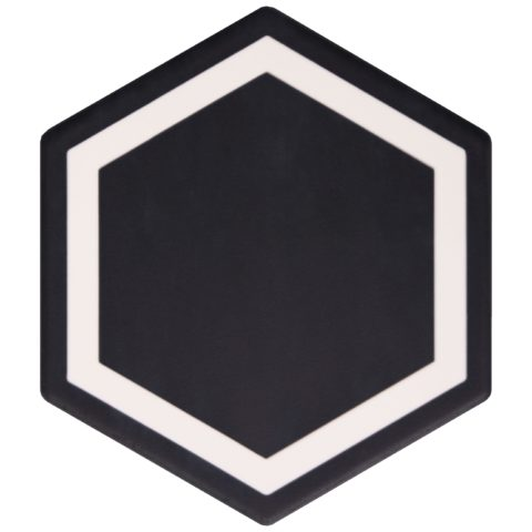 Geometric Inlay Decor White/Ebony Porcelain Hexagon