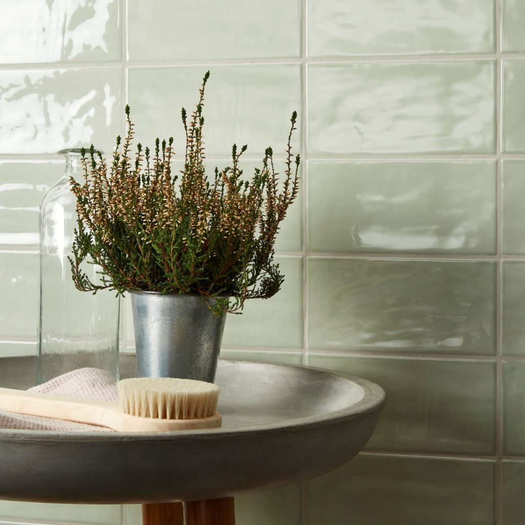 Paintbox Sage Gloss Colour Pallette Decorative Tile In Situ