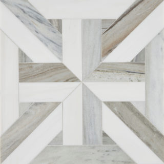 Pyrenees Large Lattice Mosaic Marble Tile (2)