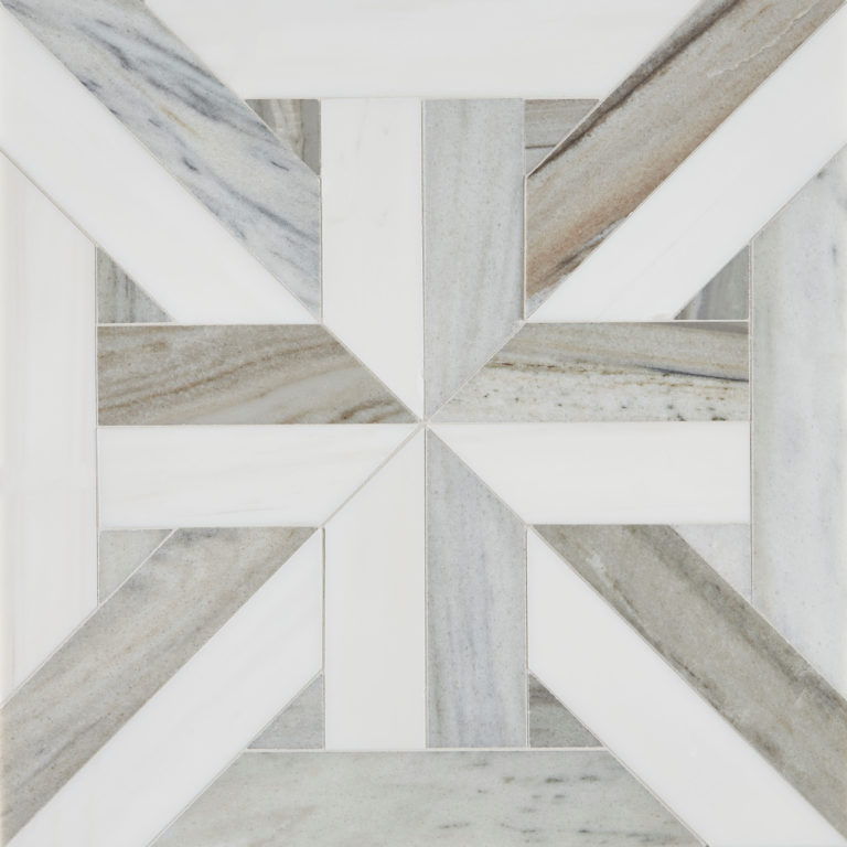 Pyrenees Large Lattice Mosaic Marble Tile 2
