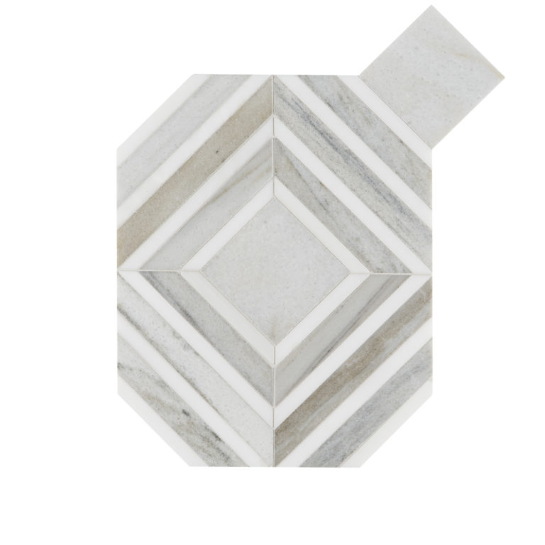 Pyrenees Octagon Marble Tile Centralised -Swatch