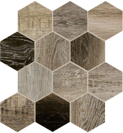 Xylem Grey Hexagon Porcelain Mosaic