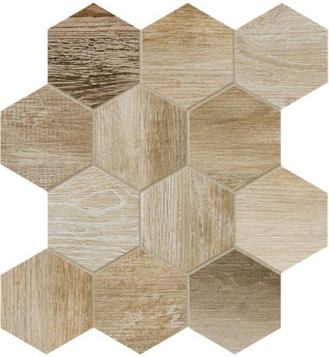 Xylem Natural Hexagon Porcelain Mosaic