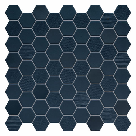 Hexa Navy Porcelain Mosaic