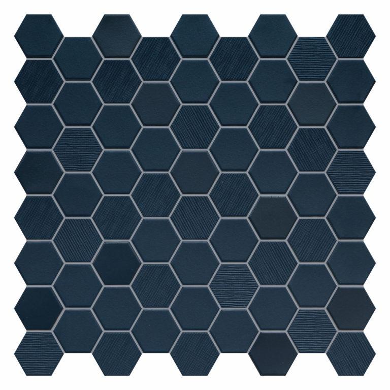 Hexa Navy Porcelain Mosaic Tiles