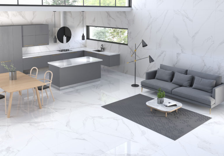 Mimica BIanco Torano Gloss wall tiles & Matt floor tiles
