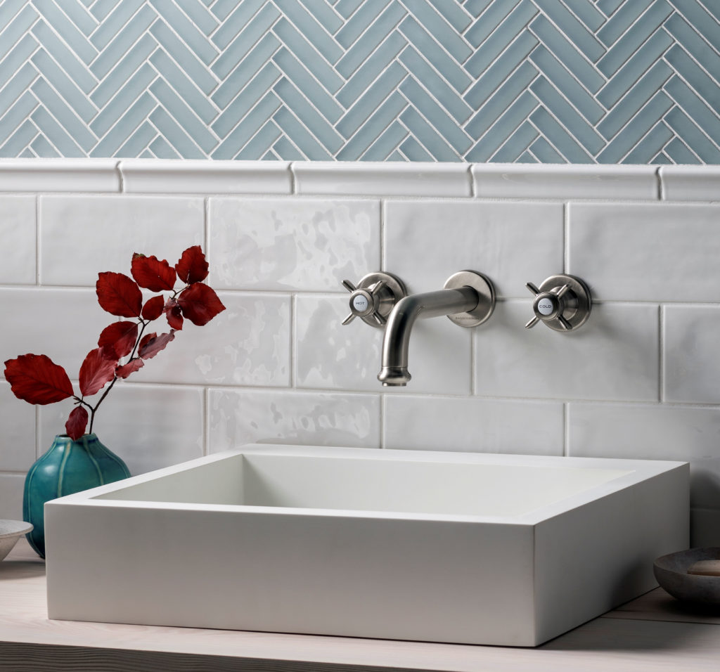 Glacier Grey Herringbone Mosaic Tiles, Paintbox Milk Cornice & Gloss Tiles