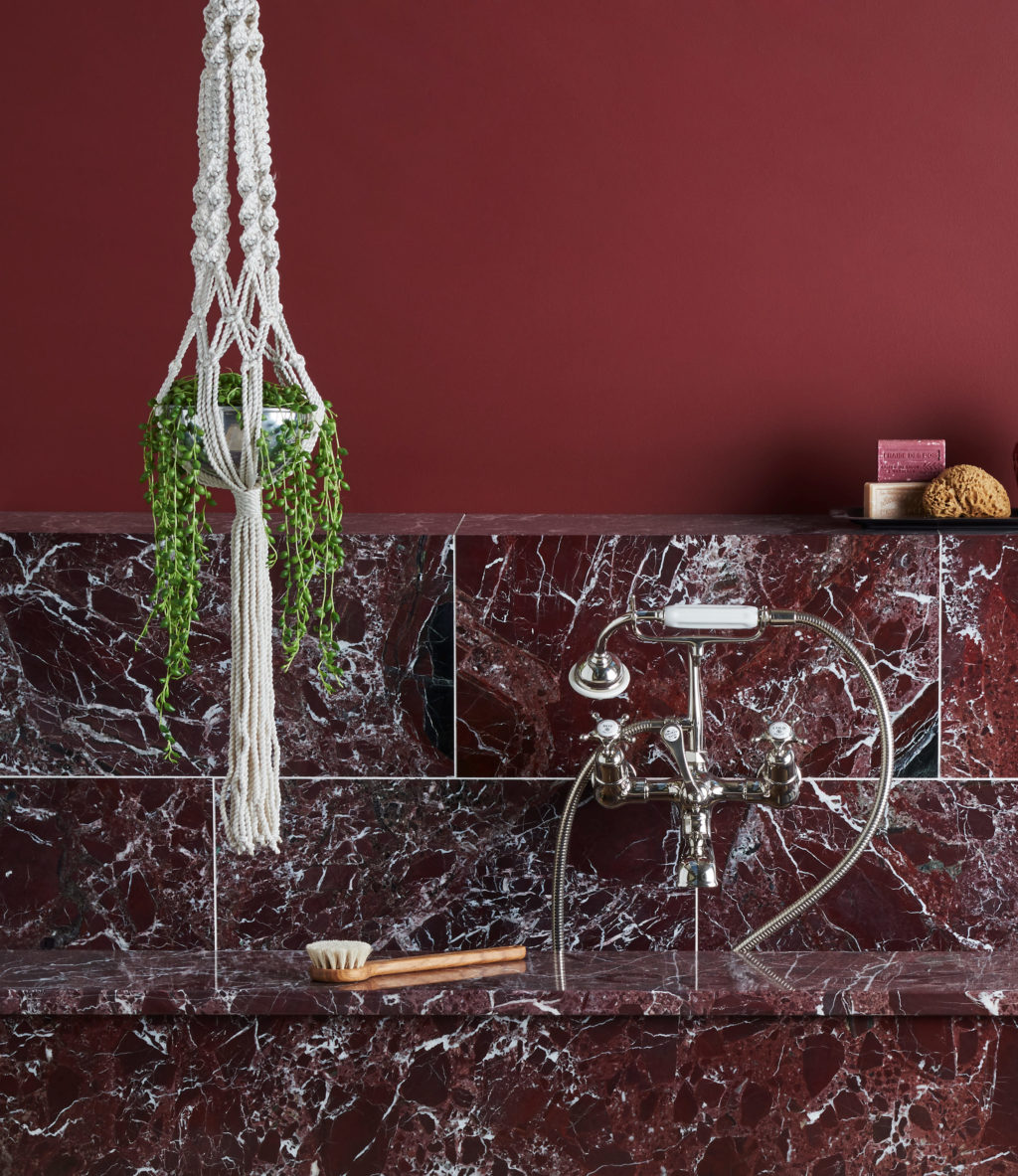 Rosso Levanto Polished Marble & Bayonne Provence Limestone Tiles
